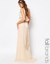 Атласное платье макси с бантом на спине TFNC Tall WEDDING - Телесный