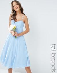 Шифоновое платье‑бандо миди для выпускного TFNC Tall - Синий