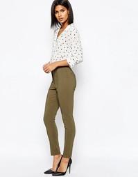 Облегающие брюки с завышенной талией ASOS - Хаки