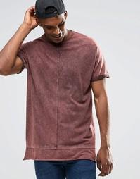 Oversize-футболка с маслянистым принтом и вставкой у нижнего края ASOS