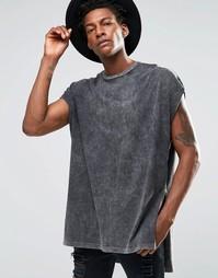 Oversize-футболка с высокими разрезами по бокам ASOS - Серый мраморный