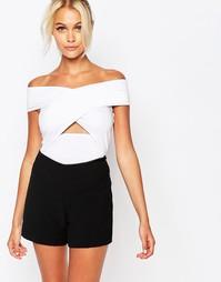 Боди с открытыми плечами и запахом спереди Fashion Union - Белый
