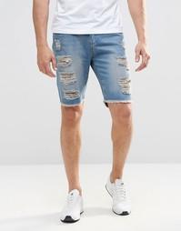 Рваные джинсовые шорты слим Brooklyn Supply Co - Зеленый