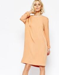 Персиковое платье с длинными рукавами Just Female Cosa - Оранжевый