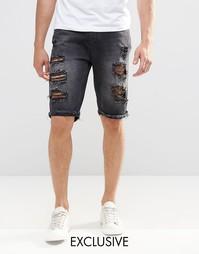 Черные рваные джинсовые шорты слим Brooklyn Supply Co