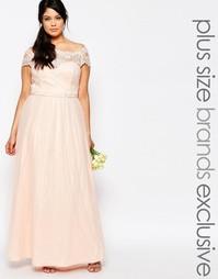 Кружевное платье макси с тюлевой юбкой Chi Chi London Plus - Розовый