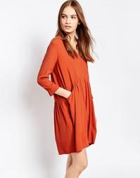 Красно-бурое свободное платье Just Female Lola - Красно-бурый