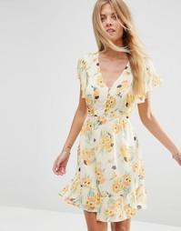 Шифоновое чайное платье с цветочным принтом ASOS - Мульти