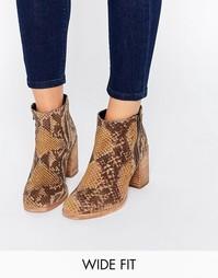 Кожаные ботинки для широкой стопы ASOS ROSA - Snake