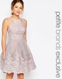 Кружевное платье миди для выпускного с вышивкой и сетчатой отделкой на Chi Chi Petite