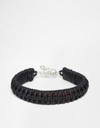 Черный кожаный браслет с плетеной отделкой ASOS - Черный