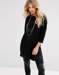 Oversize-футболка асимметричной длины Noisy May - Черный