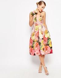 Платье миди для выпускного с принтом ASOS WEDDING - Мульти