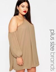 Платье с халтером и открытыми плечами Missguided Plus - Серый