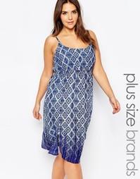 Платье на бретельках с геометрическим принтом Diya Plus - Синий