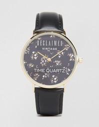 Часы с цветочным принтом и черным кожаным ремешком Reclaimed Vintage