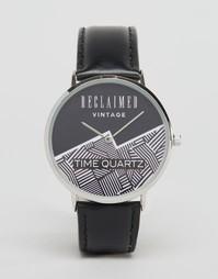 Черные часы с кожаным ремешком Reclaimed Vintage - Черный