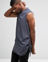 Oversize-футболка без рукавов с завязкой ASOS - Серый