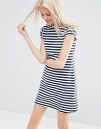 Цельнокройное платье‑трапеция в полоску с высокой горловиной ASOS