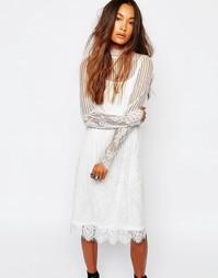 Прозрачное кружевное платье с высоким воротом Navy London - Белый