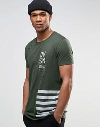 Удлиненная футболка с потертостями и принтом в стиле милитари ASOS