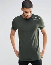 Длинная облегающая футболка с принтом в стиле милитари на плече ASOS