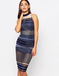 Сетчатое платье миди в полоску Missguided - Синий