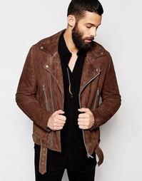 Коричневая замшевая байкерская куртка с поясом ASOS - Коричневый