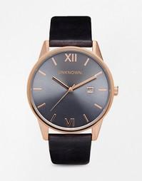 Часы на синем кожаном ремешке с деталями под розовое золото UNKNOWN