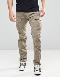 Бежевые саржевые узкие брюки‑карго стретч G‑Star Rovic