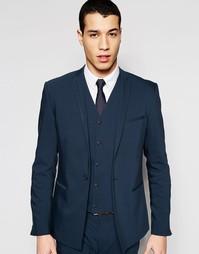Облегающий пиджак с контрастной отделкой на воротнике ASOS