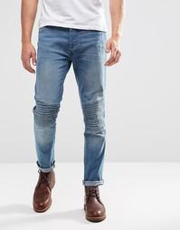 Байкерские эластичные джинсы скинни Brave Soul - Синий