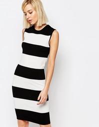 Вязаное платье без рукавов Selected Penna - Черный в полоску
