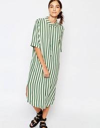 Платье-рубашка в полоску с короткими рукавами Selected Aliva
