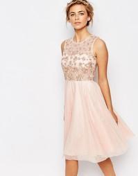 Нежно-розовое платье мини Coast Justina - Blush