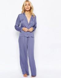 Атласная пижама с топом и широкими штанами ASOS - Снежный сереневый