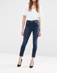 Винтажные джинсы слим с отогнутыми манжетами и завышенной талией ASOS