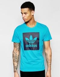Голубая футболка с принтом логотипа adidas Originals AO0755 - Синий