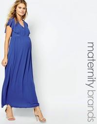 Тканое платье макси для беременных с рукавами рюшами Mamalicious Mama.Licious