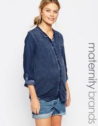 Рубашка из ткани шамбре для беременных Mamalicious - Темно-синий Mama.Licious