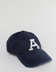 Темно-синяя саржевая кепка с логотипом Abercrombie & Fitch