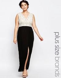 Платье макси с глубоким вырезом и запахом на юбке Lovedrobe - Черный