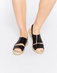 Черные кожаные сандалии-эспадрильи на плоской подошве Pieces Jade
