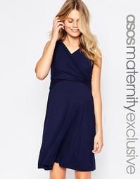 Короткое приталенное платье для беременных с запахом ASOS Maternity NU