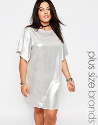 Блестящее платье‑футболка Missguided Plus - Серебряный
