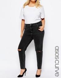 Черные выбеленные джинсы с завышенной талией и рваными коленями ASOS C