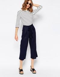 Льняная юбка-шорты с завязкой на талии ASOS - Темно-синий