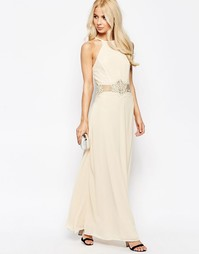 Платье макси с халтером и отделкой кроше Jarlo - Кремовый