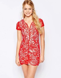 Кружевное платье-футляр Glamorous - Красный