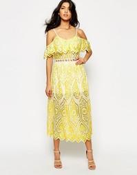 Платье с кружевной отделкой Foxiedox Quinn - Шартруз